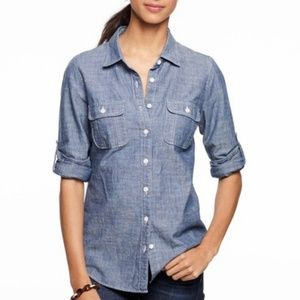 J. Crew Factory Chambray Denim Button Up